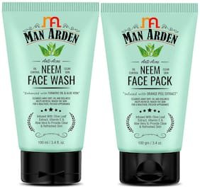 Man Arden Anti Acne Neem Face Wash 100ml + Face Pack 100g(Pack of 2)