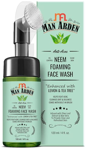 Man Arden Anti-Acne Neem Foaming Face Wash with Built-in Brush 120 ml (Pack Of 1)