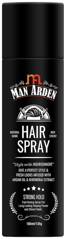 Man Arden Hair Spray Strong Hold Styling with Nourishment Argan Oil and Bhringraj 180 ml (Pack Of 1)