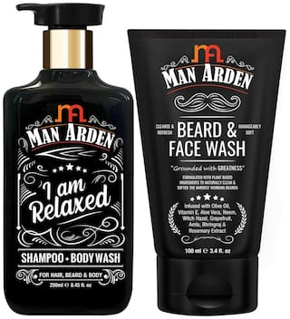 Man Arden Relaxing Combo | Relaxed Shampoo - Body Wash 250ml + Beard & Face Wash 100ml(Pack of 2)