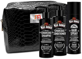 Man Arden Rippling Tresses Combo Hair Spray 180ml,Charcoal Shampoo,Charcoal Conditioner 200ml Each With Pouch (Pack Of 3)