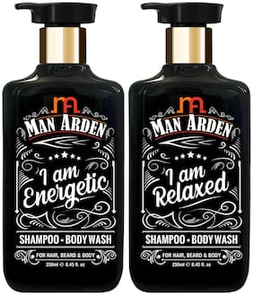 Man Arden Shampoo + Body Wash Combo | Energetic + Relaxed 250ml Each(Pack of 2)