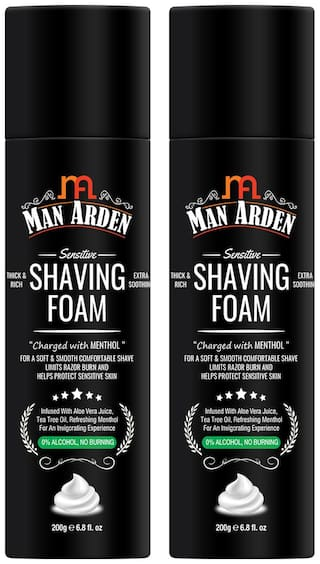 Man Arden Shaving Foam For Sensitive Skin - Charged with Menthol,Aloevera and Tea Tree,200 g (Pack Of 2)