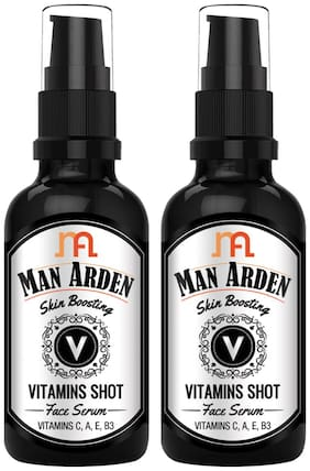 Man Arden Skin Boosting Vitamins Shot Face Serum - With Vitamin C, A, E and B3 For Men, 30 ml (Pack Of 2)