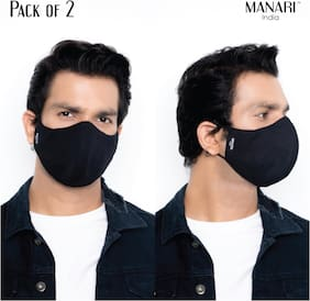 Manari India Black 5 Layer Reusable & Adjustable Face Masks