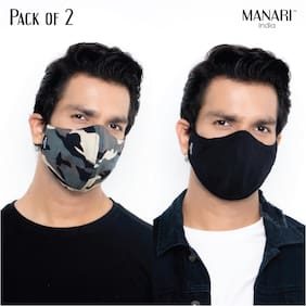 Manari India Army Print 5 Layer Reusable & Adjustable Face Masks