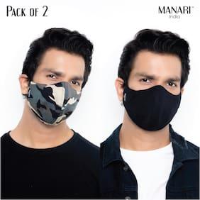 Manari India Army Print 5 Layer Reusable & Adjustable Face Masks