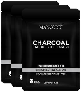 Mancode Activated Charcoal Facial Sheet Mask for Men, 25ml Each (Pack Of 3)