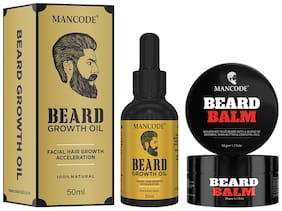 Mancode Beard Growth Oil 50 ml Beard Balm 50 g Men Pack of 2