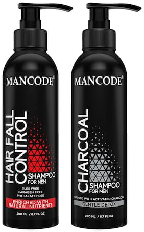 Mancode Hair Fall Control Shampoo 200 ml and  Charcoal Shampoo 200 ml Men & Women Pack of 2