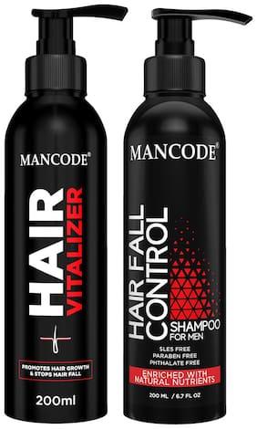 Mancode Hair Vitalizer 200 ml and Hair Fall Control Shampoo 200 ml Men & Women Pack of 2