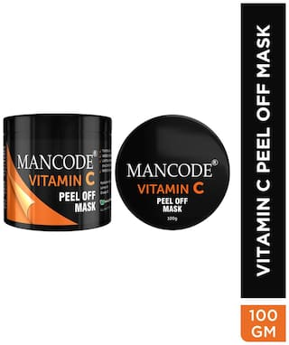 Mancode Vitamin-C Peel Off Mask for Men-,Tightens Skin,Absorbs Excess Oil,Lightens and Brightens Skin Complexion and Removes Blackheads,Enriched with Hyaluronic Acid-100g