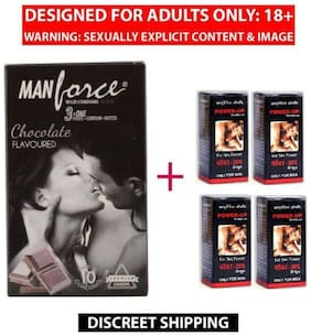 MANFORCE DOTTED CONDOM (10 PIECES) + POWERUP CAPSULES 100% HERBAL & EFFECTIVE (04 NOS)