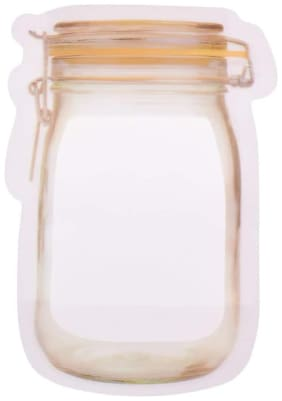 Maruthi Plastics Jar shape standup pouch with zipper - 15.7 cm x 10.7 cm x 0.5 cm (Pack of 100)