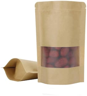 Maruthi Plastics Brown kraft paper standup pouch with zipper/ matt window - 14 cm x 9 cm x 0.5 cm (Pack of 100)