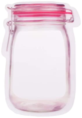 Maruthi Plastics Jar shape standup pouch with zipper - 19.5 cm x 13.7 cm x 0.5 cm (Pack of 100)