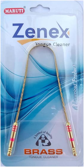 Maruti Classic Zenex Tongue Cleaner| Made with Brass | High Grade Brass With Pink Design Handle (1 pcs )