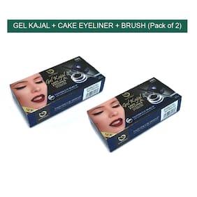 Matt Look 2 in 1 Gel Kajal 7g & Cake Eyeliner Smudge Proof 7g (Jet Black) Pack of 2)