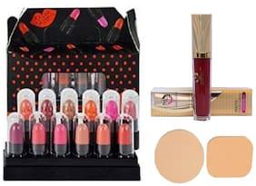 MattLook Super Matte Mini Lipstick Travel Pack with Liquid Sindoor & Cosmetic Puff (Combo 3)
