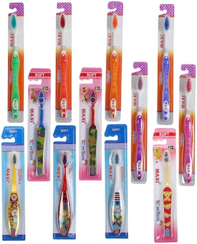MAXI Family Pack Toothbrush Combo-(6 Adults) Tiger Toothbrush, (3 Kids) TomTom Junior Toothbrush, (3 Kids) Toffee Junior Toothbrush (Pack of 12)