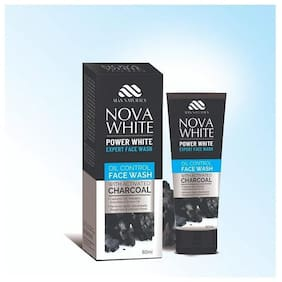 Maxnaturals Nova White Charcoal Face Wash for Deep Clean Face & Oil Control for Men Suitable for All Skin Type (60 ml)