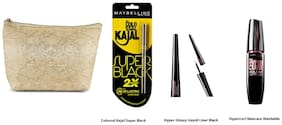Maybelline New York Colossal Kajal Super Black+Hyper Glossy Liquid Liner Black+Hypercurl Mascara Washable Black Eye kit with pouch Free