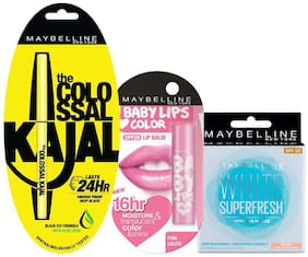 Maybelline New York Promo (Colossal Kajal + Baby Lips Love Color Pink Lolita + White Super Fresh Pearl)