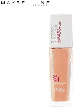 Maybelline New York Super Stay 24H Full coverage Liquid Foundation,Buff Beige 130(Pack of 1)