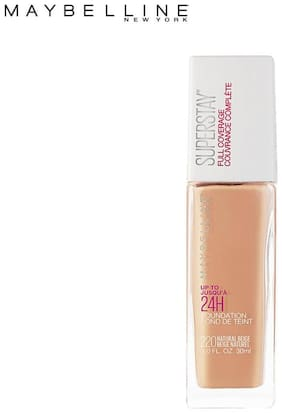 Maybelline New York Super Stay 24H Full coverage Liquid Foundation,Natural Beige 220(Pack of 1)