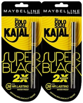Maybelline New York Colossal kajal Super Black (Pack of 2 at 20% off)