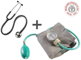 MCP Adult Deluxe Aneroid Sphygmomanometer - Professional Blood Pressure Monitor with Adult black cuff and Carrying case And Stethoscope