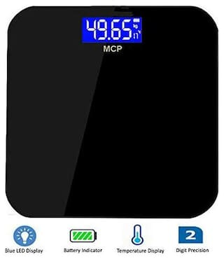 MCP Weighing Scale Human Body Weight Machine Digital (Blue led) with Battery & Temperture Indicator