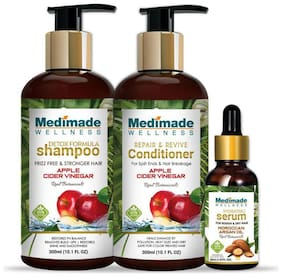 Medimade Apple Cider Shampoo 300 ml, Conditioner 300 ml and Hair Growth Serum 30 ml (Pack Of 3)