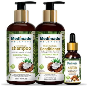 Medimade Coconut Milk Shampoo 300 ml, Conditioner 300 ml and Hair Growth Serum 30 ml (Pack Of 3)