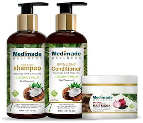 Medimade coconut milk shampoo 300 ml, coconut conditioner 300 ml, red onion hair mask 200 g) Pack of 3