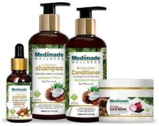 Medimade Coconut Milk Shampoo 300 ml and Conditioner 300 ml with Hair Growth Serum 30 ml and Red Onion Hair Mask 200 ml (Pack Of 4)
