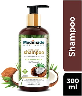 MEDIMADE Hydrating Coconut Milk Shampoo Paraben and Sulphate free 300 ml (Pack Of 1)
