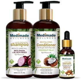 Medimade Red onion shampoo 300ml, coconut conditioner 300ml, hair growth serum 30ml) Pack of 3