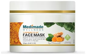 Medimade Turmeric Clay Face Mask Paraben and Sulphate free 250g (Pack Of 1)
