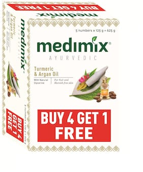 Medimix Ayurvedic Turmeric & Argan Oil Bathing Soap 125 gm (4+1 offer Pack)