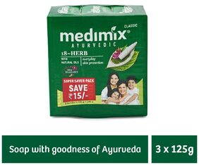 Medimix Classic Ayurvedic 18 Herbs Soap 3 x 125 gm (Offer Pack)