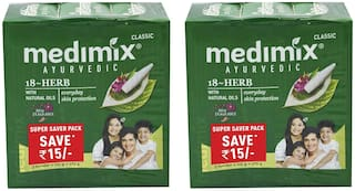 Medimix Classic Ayurvedic 18 Herbs Soap 3 x 125 gm ( Pack of 2)