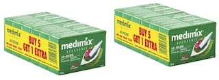 Medimix Classic Ayurvedic 18 Herbs Soap 75 gm (5+1 offer Pack)-Pack of 2