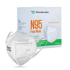 Medinain Anti-Pollution Activate N-95 Mask with 5 Layer CE and ISO and WHO-GMP Certified with Adjustable Built-in Nose Pin Free Size White(Pack of 20)