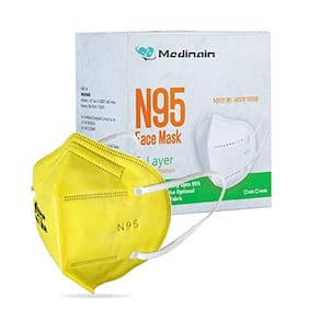 Medinain Anti-Pollution Activate N-95 Mask with 5 Layer CE and ISO and WHO-GMP Certified with Adjustable Built-in Nose Pin Free Size Yellow(Pack of 20)