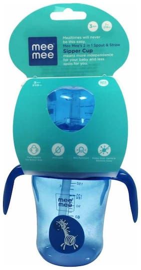 Mee Mee 2 in 1 Spout and Straw Sipper Cup (Blue) - 210 ml