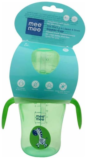Mee Mee 2 in 1 Spout and Straw Sipper Cup (Green) - 210 ml