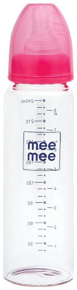 Mee Mee 240 ml Premium Glass Feeding Bottle (Pink 240 ml)