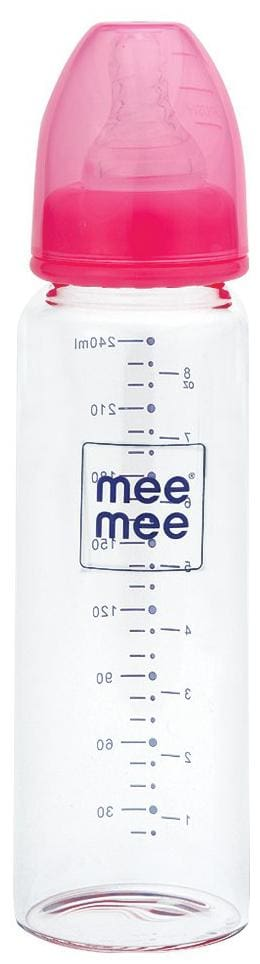 Mee Mee 240 ml Premium Glass Feeding Bottle (Pink 240 ml)