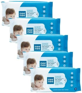 Mee Mee Baby Wet Wipes Aloe Vera (72 Pieces) (Pack of 5)